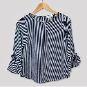 Monteau   Striped Bell Sleeve Blouse   M